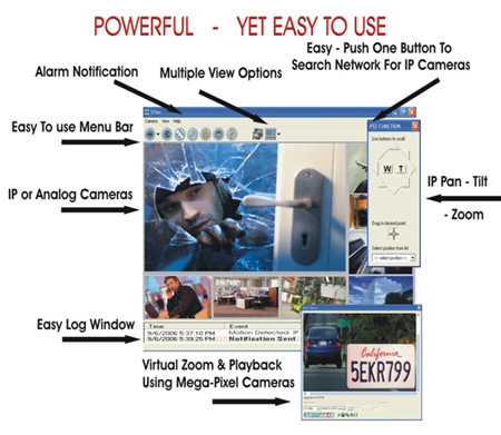 Easy to use NVR, ip, CCTV Surveillance Software